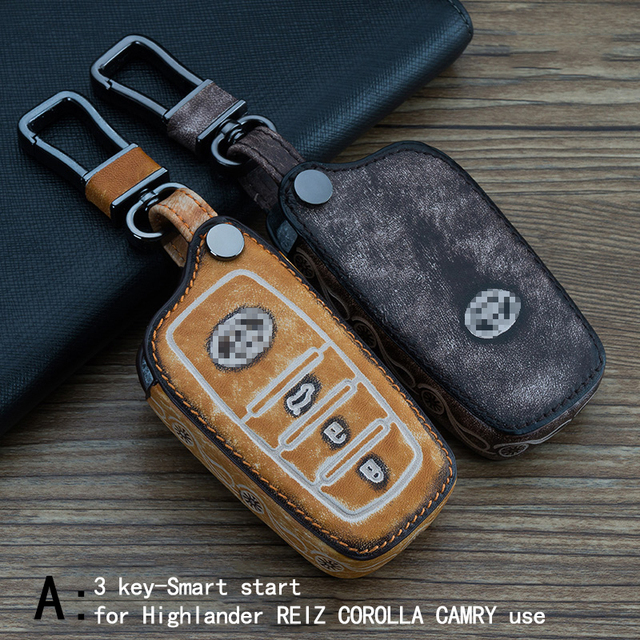 Genuine Leather CAR KEY CASE For TOYOTA HIGHLANDER REIZ COROLLA CAMRY RAV4 CROWN Use Automobile Special-purpose CAR KEY HOLDER