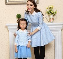 Family Clothes Spring/Autumn Dress Mesh Bottom Girls Dress Fashion Women Dress Long Sleeve Dress for Mother and Daughter, CHH60