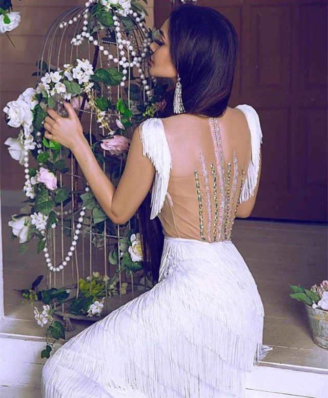 ダンスマーメイドウエディングドレス 2019 ロングイブニングドレス房ラテンフォーマルパーティードレスラインストーン羽ローブ · ド · 夜会