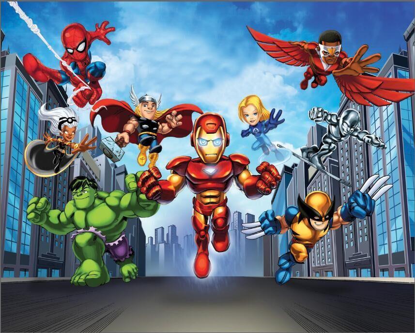Bleu ciel blanc nuages Super Hero Squad Avengers super ville skyline décors Vinyle tissu Ordinateur imprimé mur Milieux