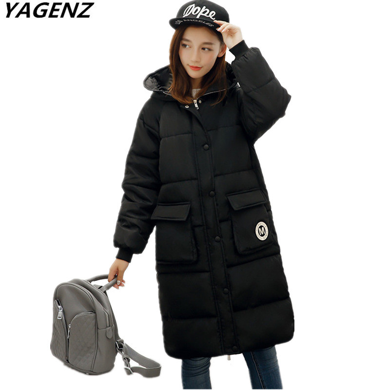 YAGENZ 2017 Winter parkas Women Cotton-padded Jacket Plus Size Solid Color Hooded Coat Loose Warm Casual Top Long Outerwear A635 linenall women parkas loose medium long slanting lapel wadded jacket outerwear female plus size vintage cotton padded jacket ym