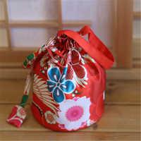 Handbag Japanese Style Kimono Yukata Haori Women Girl Floral Drawstring Bucket Cosplay Costume Traditional Japan Free Shipping