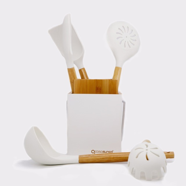 Kitchen Utensil Set With Holder Beech Wood U0026 Silicone Heat Resistant  Non Stick