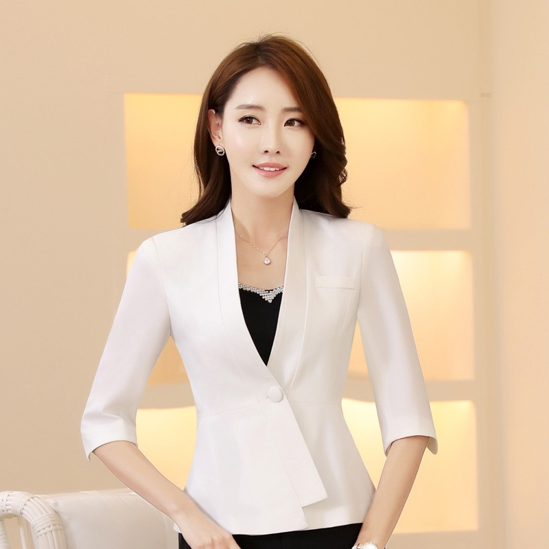 Novelty White Half Sleeve Formal OL Styles Blazer Coat Professional Jackets For Ladies Office ...