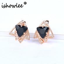 ISHOWLEE Black Big Triangles Crystal Stud Earrings for Women Zircon & Opal Stone 585 Rose Gold Earrings Geometry Jewelry esp05 fake opal geometry drop earrings