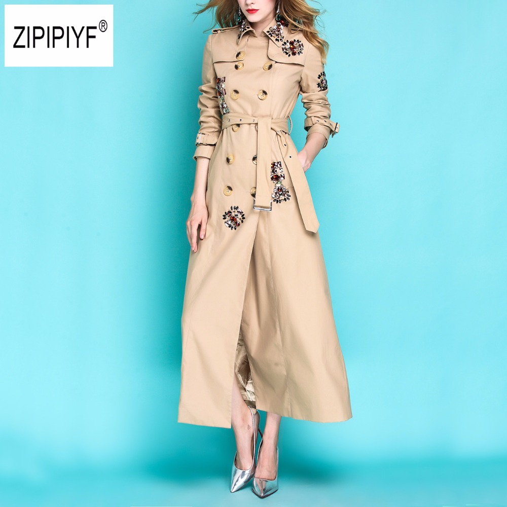 England Style Autumn Spring Trench Coat For Women Adjustable Waist Slim Diamonds Coat X-Long Trench Female Outerwear B1144