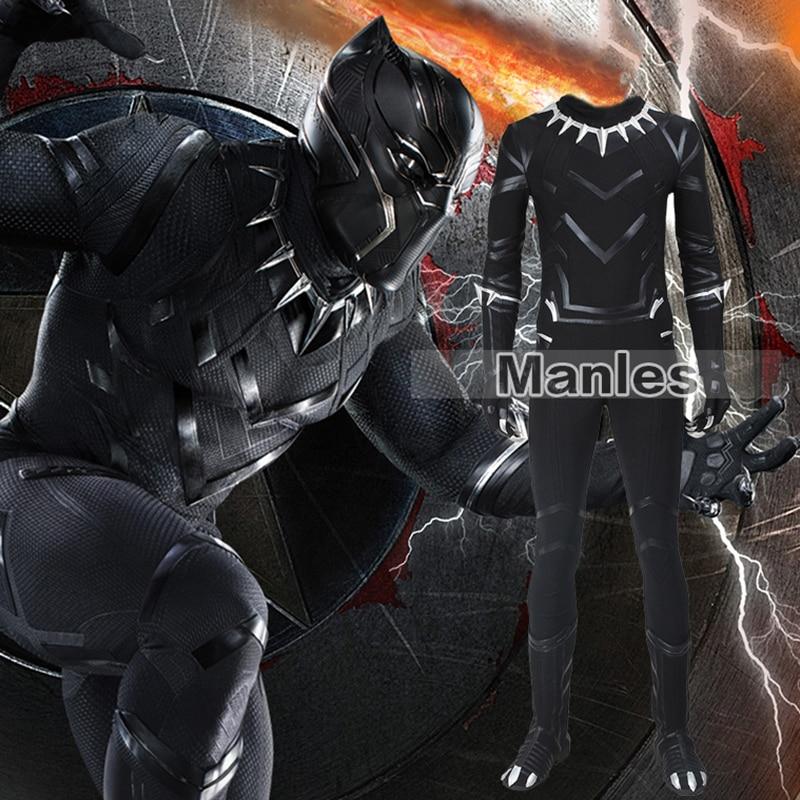 169ebe9ad Capitão América Guerra Civil Pantera Negra Traje Cosplay Adulto Homens  Conjunto Superhero Halloween Costume Custom Made
