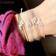Fashion Simple Multilayer Pearl Beads Rope Bracelet for Women Jewelry Gifts Handmade Cotton Cord String Friendship Bracelets C35