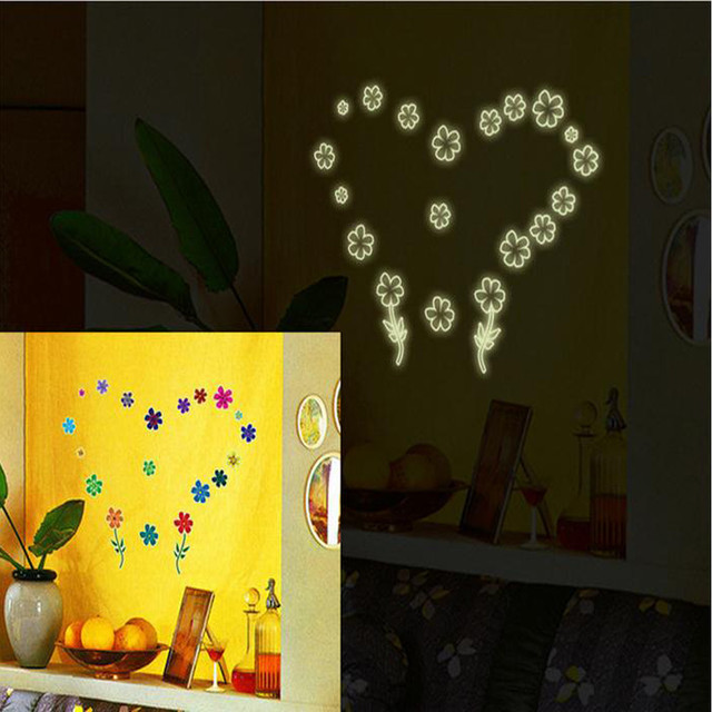 3d wall stickers luminous fluorescent plastic wall stickers glow in