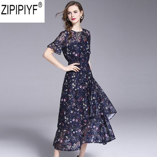 2018 Women Casual Floral Print Chiffon Summer Mid-Calf Dress Elegant O-Neck Short Sleeve High Waist Dress Vestidos C1120