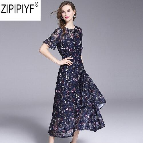 2018 Women Casual Floral Print Chiffon Summer Mid-Calf Dress Elegant O-Neck Short Sleeve High Waist Dress Vestidos C1120