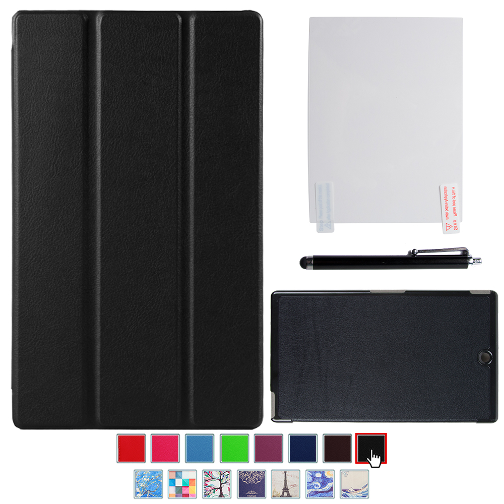 sony scr28 for tablet z3 - for sony xperia Z3 tablet compact 8 tablet new pu leather cover case smart folio for sony tablet z3+screen protector+stylus