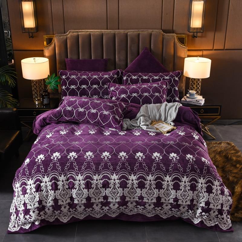 Purple Blue Red Luxury European Style Embroidery Winter Thick Velvet Flannel Bedding Set Duvet Cover Bed Linen/sheet Pillowcases