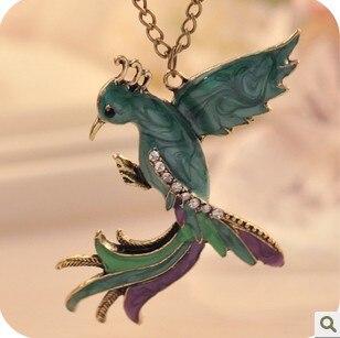 Vintage Phoenix Gem Enamel Pendant Necklace Glazed Peacock Bs