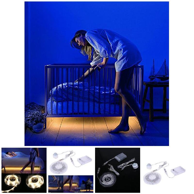 1/1.5 M Motion Activated Bed Light IP65 Waterproof Flexible USB LED Strip Sensor Night Light Illumination for Bed Hallways Stair