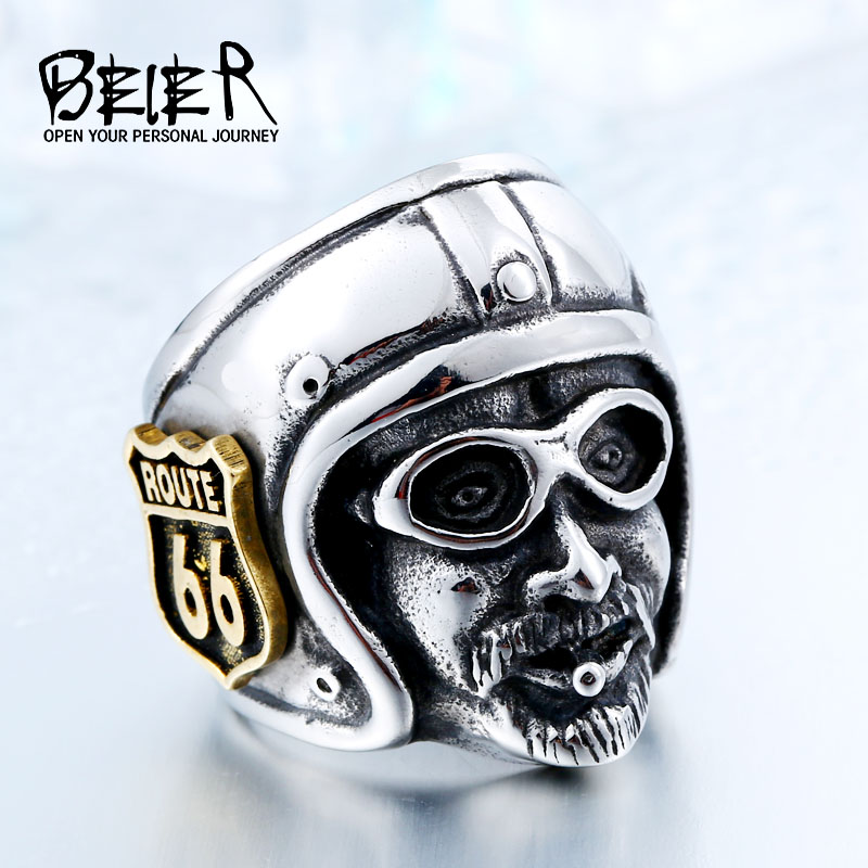 beier motorcycle biker man ring with plated gold route 66 stainless steel unique route 66 mc club biker ring br8 378 - Biker Wedding Rings