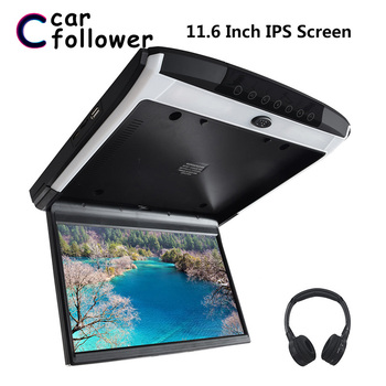 11.6 Inch 1080P HD IPS Screen Car Monitor Roof MP5 Player Touch Button Support USB SD HDMI Sperker IR FM Ceiling TV For Car image