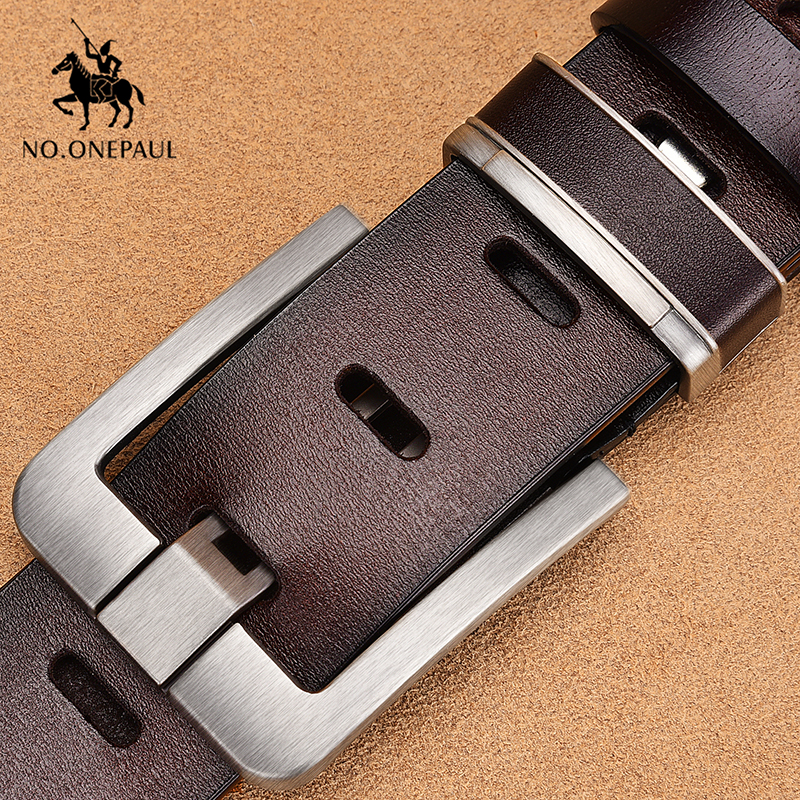 NO.ONEPAUL Men's Leather Alloy Pin Buckle Jeans Belt Fashion Business Cow Genuine Leather Men's Youth Luxury Retro Classic Belts