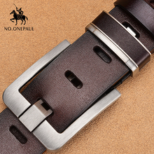 NO.ONEPAUL Mens leather alloy pin buckle jeans belt fashion business cow genuine mens youth luxury retro classic belts