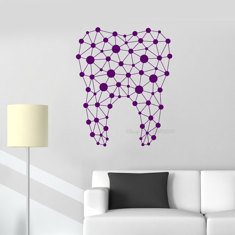 New Design Tooth Wall Sticker Vinyl Abstract Dentist Dental Clinic Decor Wall Decal Home Decorative Bathroom Mural Custom LC292(China)
