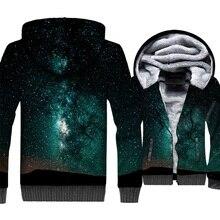 Space Galaxy 3D Hoodies Men Colorful Nebula Sweatshirt Harajuku Coat Winter Thick Fleece Stars Jackets Hipster Clothing