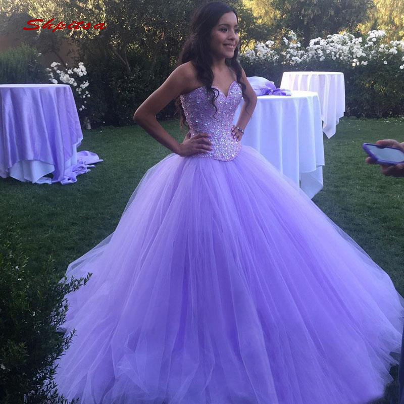 Luxury Crystals Quinceanera Dresses Ball Gown Tulle Prom Debutante Sixteen Sweet 16 Dress Vestidos De 15 Anos