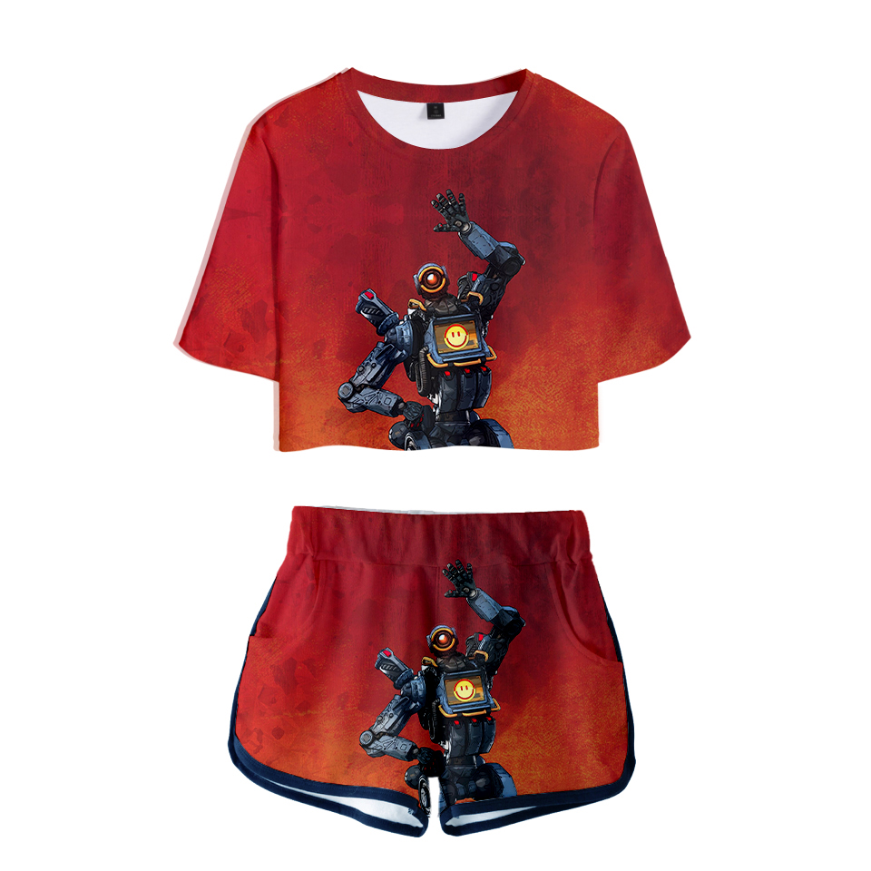 Frdun Tommy 3D Apex Legends Two Pieces sets Navel T-shirt and Shorts 3D summer Printed Casual <font><b>Harajuku</b></font> Women <font><b>Kawaii</b></font> <font><b>sexy</b></font> Sets image