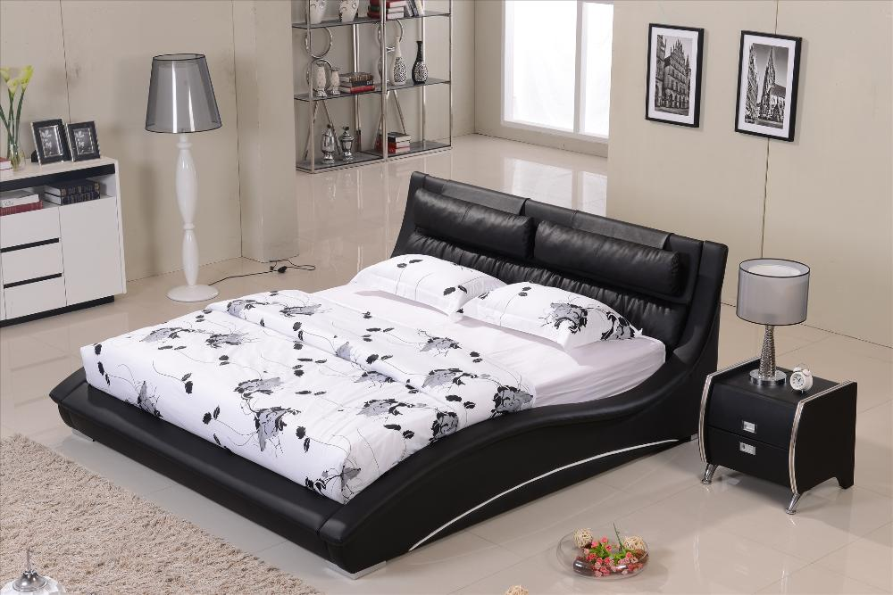 Furniture bedroom Confortable Black leather headrest Bed solid Wood Frame  Curved shaped smart modern bed B07-in Beds from Furniture on Aliexpress.com  ...