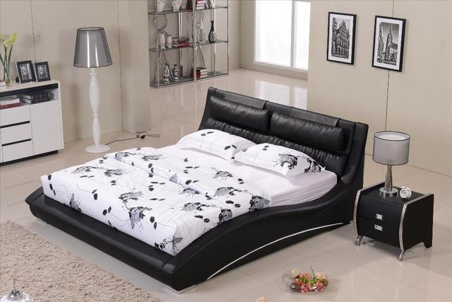 Furniture bedroom Confortable Black leather headrest Bed solid Wood ...