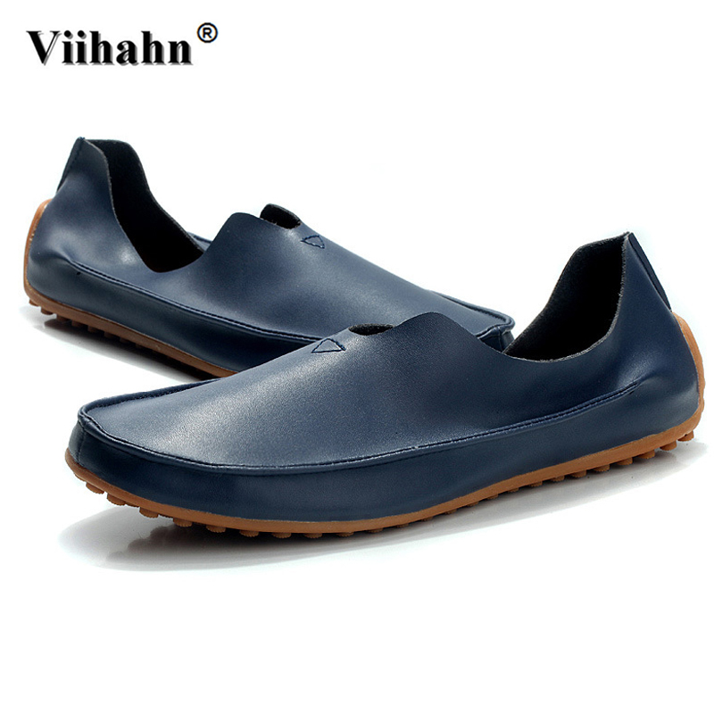 Viihahn Men Shoes Summer Leather Loafers Unisex Breathable Slip On Car Driving Shoes Antislip Moccasins Flats Plus Size 36-47 summer loafers men shoes casual hollow leather male shoes flats soft moccasins breathable gommino driving oxfords dress business
