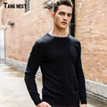 TANGNEST Men's Basic Sweaters 2017 New Arrival Men Solid Casual Pullovers Male O-neck Popular Sweater Black and White MZM494