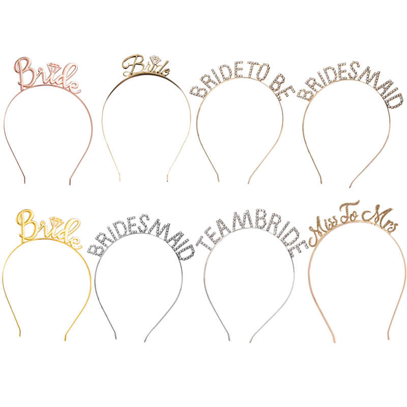 Wedding Hair Accessories Gold Bride to Be Set Bridesmaid Bridal Shower Hen Party Rhinestone Tiara Crown Bachelorette Party Favor