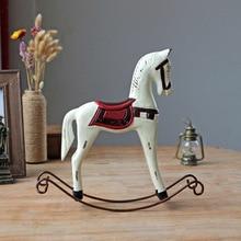 1PC Hot Zakka Wooden Horse Crafts Ornaments Home Furnishing Creative Office Desktop Decoration Wood Craft  JL 030
