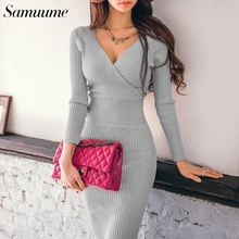 a7aa3b9a7cf Samuume 2019 Winter Women Sexy Cross V neckTunic Knitted Dresses Solid Slim Long  Sleeve Midi Bodycon