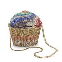 Cute Cartoon Women Ice cream Cupcake Mini Bags New Look Funny Clutch Shape Diamond Shiny Purse New Year Gift(88239 BG)