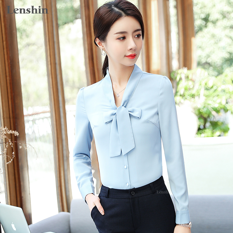 06bc0b48c1e0cb Lenshin Yellow Bow Shirt Soft Candy Color Blouse with Tie Women ...