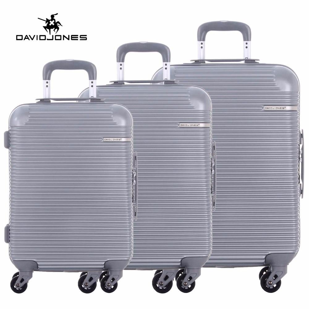 DAVIDJONES rueda viaje maleta trolley spinner grandes mujeres rolling equipaje chica vintage caja del juego 3 unidades tronco