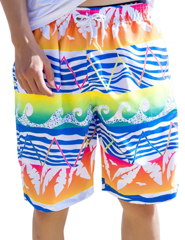 Alien Cat Spaceship Mens Swim Trunks Summer Beachwear Board Shorts Quick Dry Print