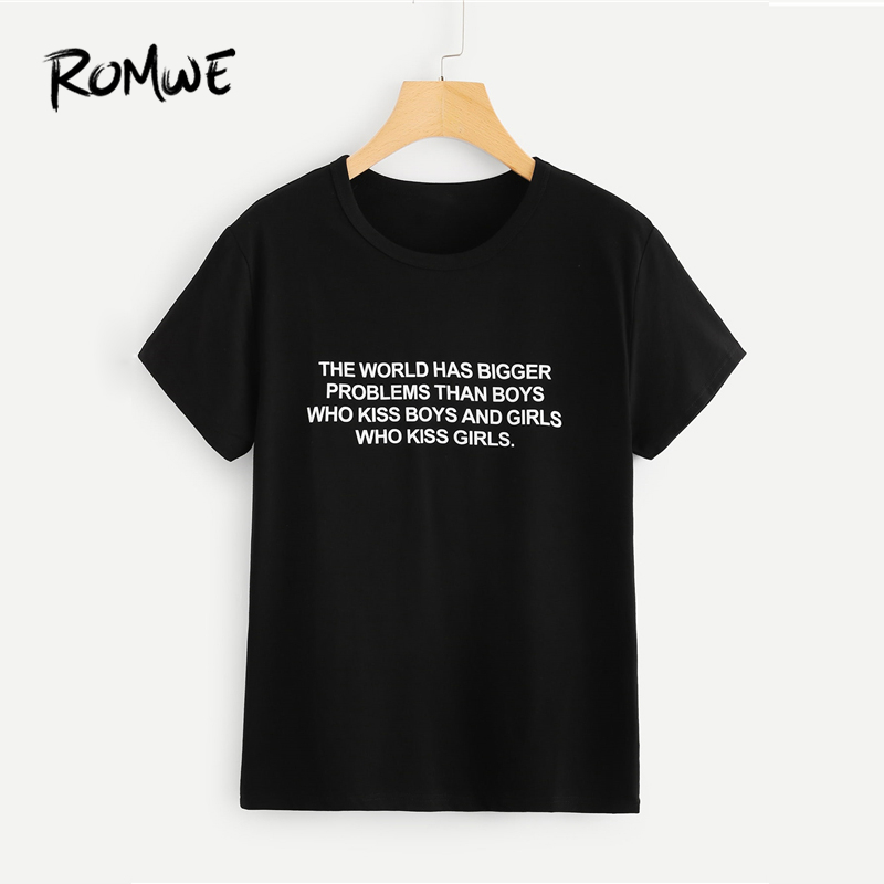 ROMWE Letter Print T-Shirt 2019 Black Casual Short Sleeve Round Neck  Graphic Tees Women e136d5ab34fd