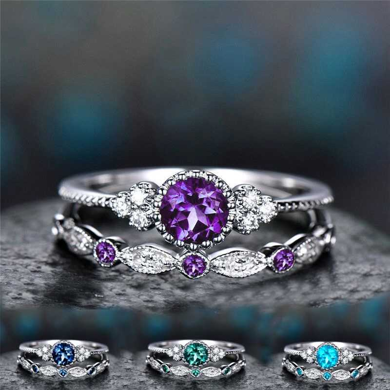 QCOOLJLY 2 ชิ้น/เซ็ตหรูหราสีเขียวหินสีฟ้าคริสตัลแหวนผู้หญิง Sliver สีงานแต่งงานแหวนเครื่องประดับ Dropship