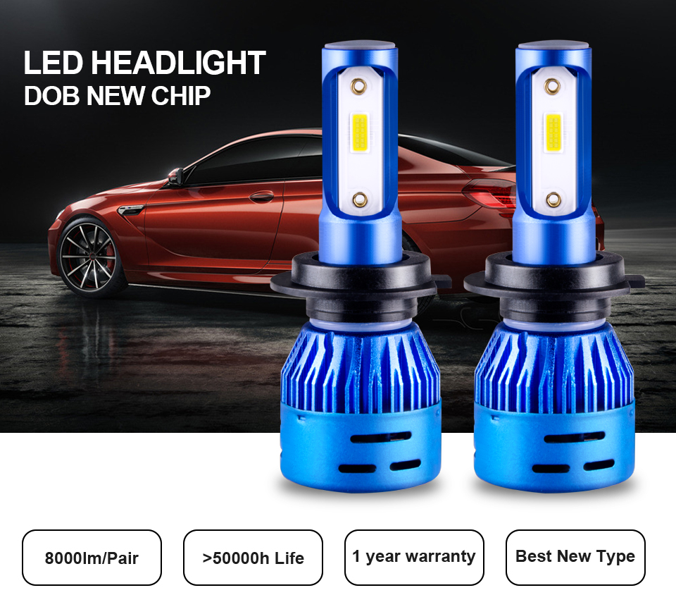 Aceersun LED Car Headlight H7 LED H4 LED H1 H11 9005 9006 HB3 72W 8000LM 6500K 12V 24V Auto Headlamp DOB Chip Fog Light HB4 (1)