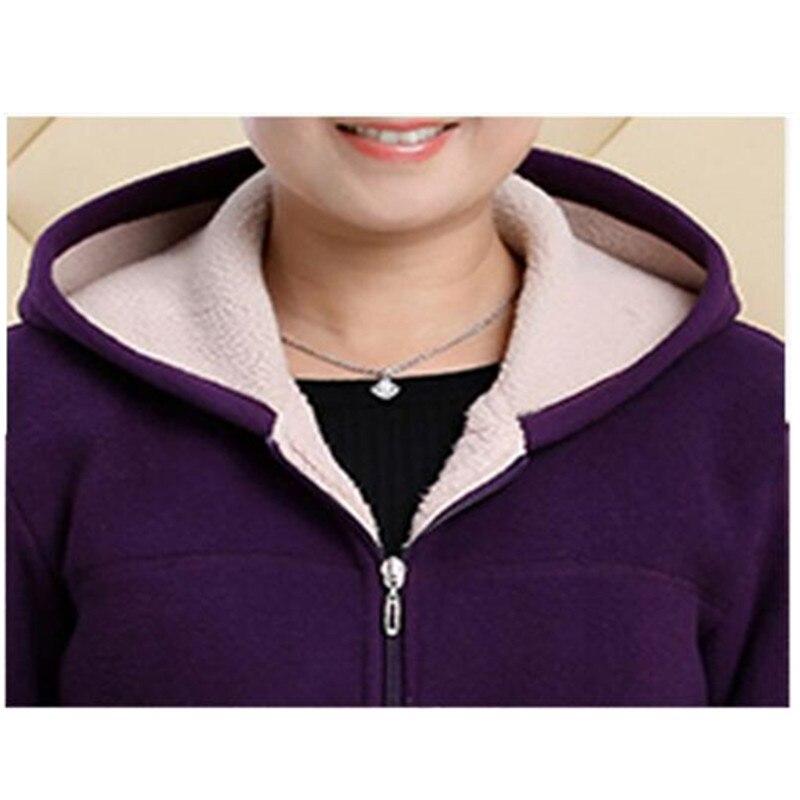 Middle-aged Autumn Fleece Outerwear 2018 Plus size 5XL Slim Hooded Women Jacket Solid color Warm Casual Short Winter Jacket Coat 4