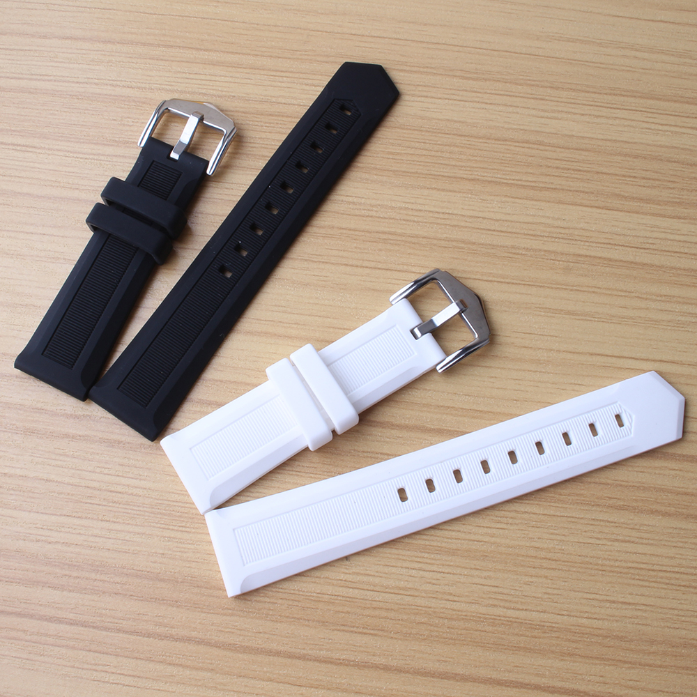 Watchband white rubber soft Waterproof Watches men accessories 16mm 18mm 20mm 22mm 24mm fashion replacement watchbands strap new