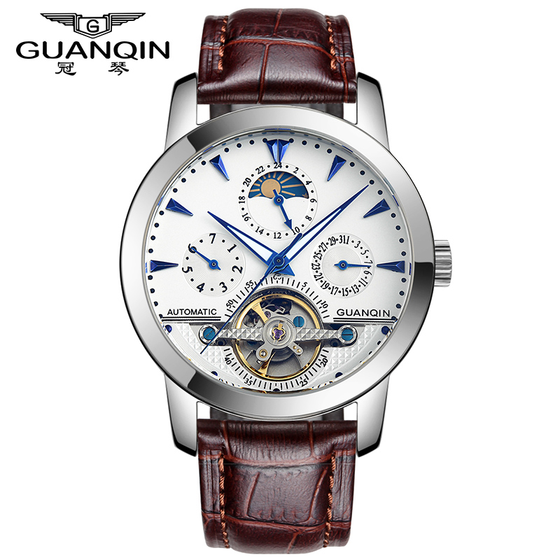 Luxury Brand GUANQIN Tourbillon Watches Men Skeleton 6 Stylish Genuine Leather Strap Fashion Automatic Watches male clock hours relogios masculino new guanqin luxury brand tourbillon skeleton male watches men sport leather strap automatic mechanical watch