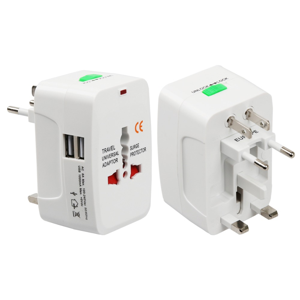 394aa7456de4d US $2.48 |All in One Universal International Plug Adapter 2 USB Port World  Travel AC Power Charger Adaptor with AU US UK EU converter Plug-in ...