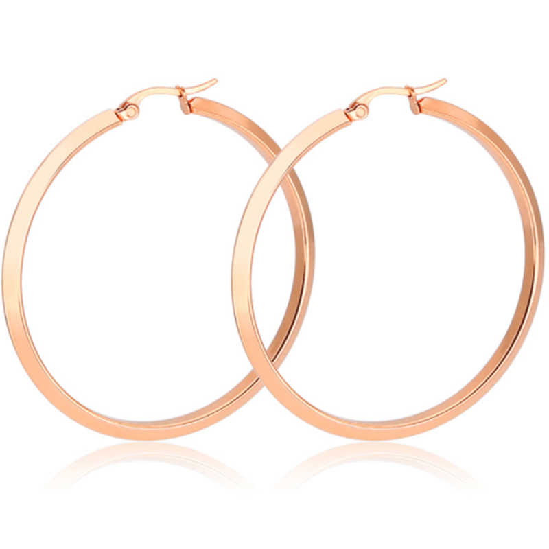 new titanium stainless steel high quality rose gold silver big stud earring for women men hyperbole ear clip fashion jewelry