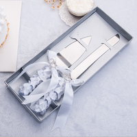 2017 Wedding Favors And Gifts Free Shipping Personalized Elegant Double Heart Wedding Cake Knife Serving Set