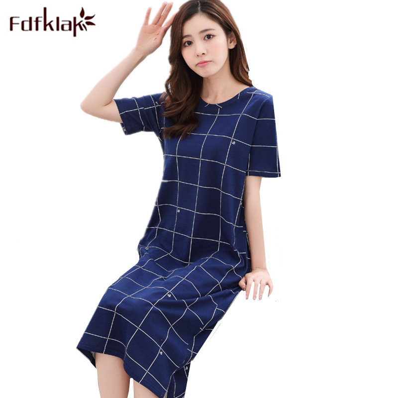 Fdfklak 2018 Women Nightgowns Summer Cotton Night Dress Long Nightshirt Female Sleepwear Loose Homewear Nightdress Sleepshirt