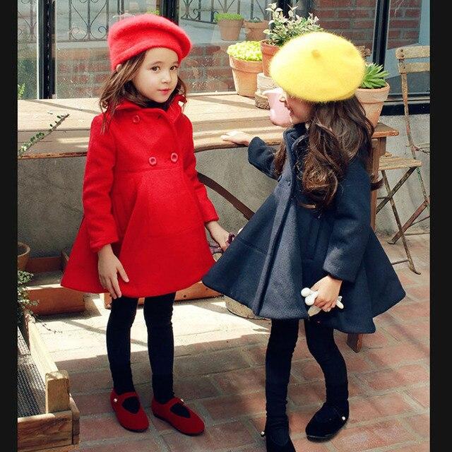 Мода Девушки Зимнее Пальто Девушки Красное Платье Пальто Принцесса Весна Верхняя Одежда Roupas Infantis Menina Девушки Зима Траншеи