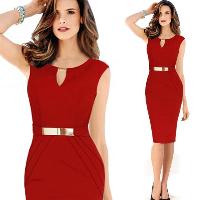 Womens Business Sheath Ladies Red Pencil Office Sexy Dresses